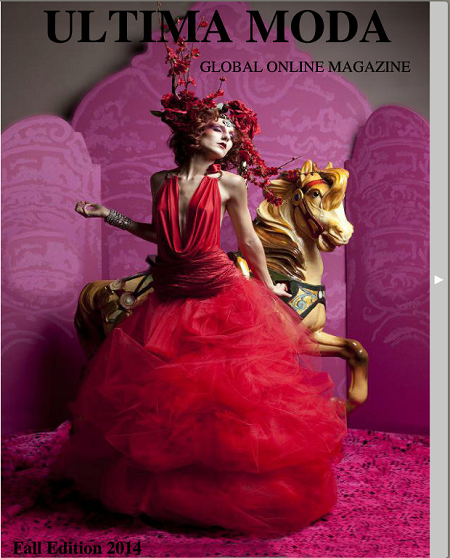Cover of Fall 2014 Ultima Moda Magazine with Hair/Makeup by Ashley Augustus, Headdress by Jimmy Guzman, and image by Dan Minicucci Photography