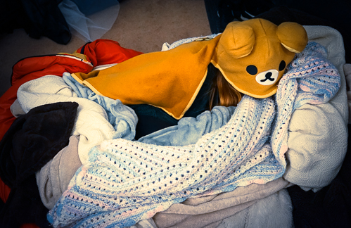 """#6 on the list of """"You know it's cold when"""" - blanket nests have been created"""