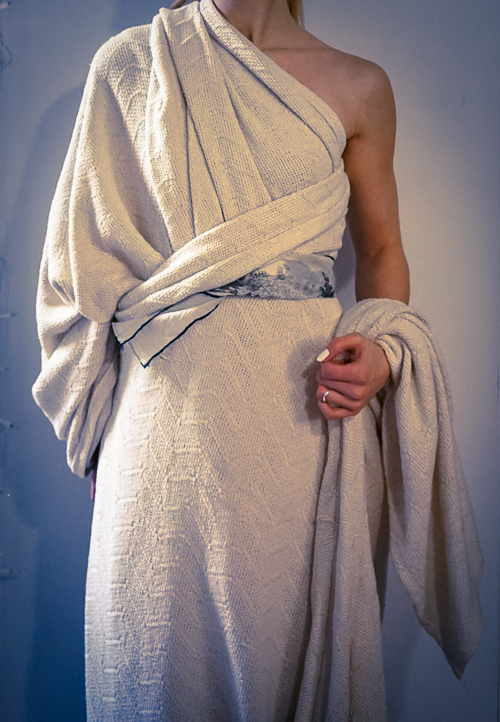 Winter Toga, AKA: Blanket Burrito...but why the cold shoulder? (Too many puns!!!)