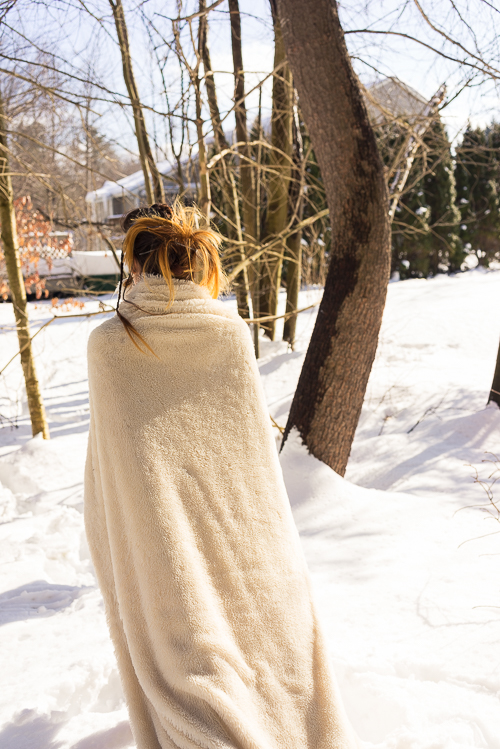 A winter stroll with me and my blankie...I mean...coat