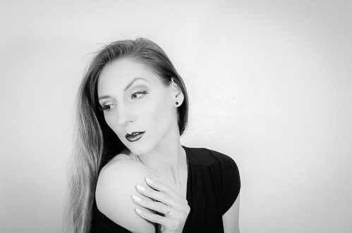 Dramatic look created with contouring makeup (and some snazzy editing skills)