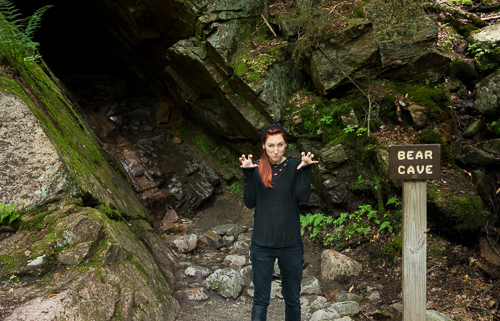 Being a bear at the Bear Cave on The Flume Gorge Trail
