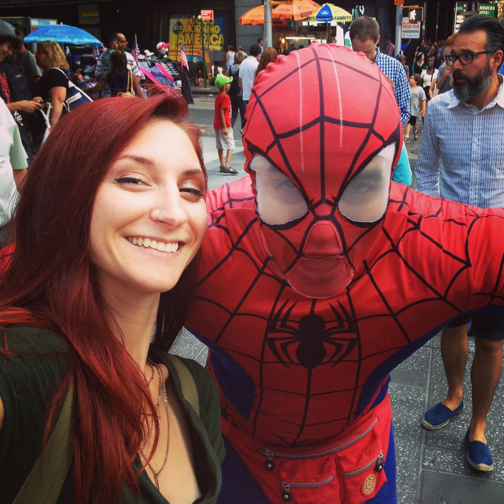 Spiderman creeping for a picture