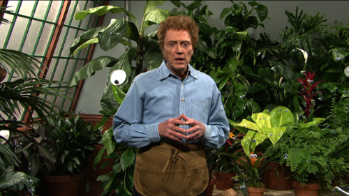 A man who's very scared of plants