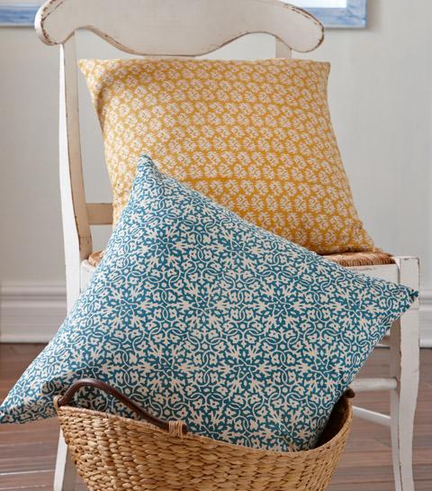 tag block print pillow