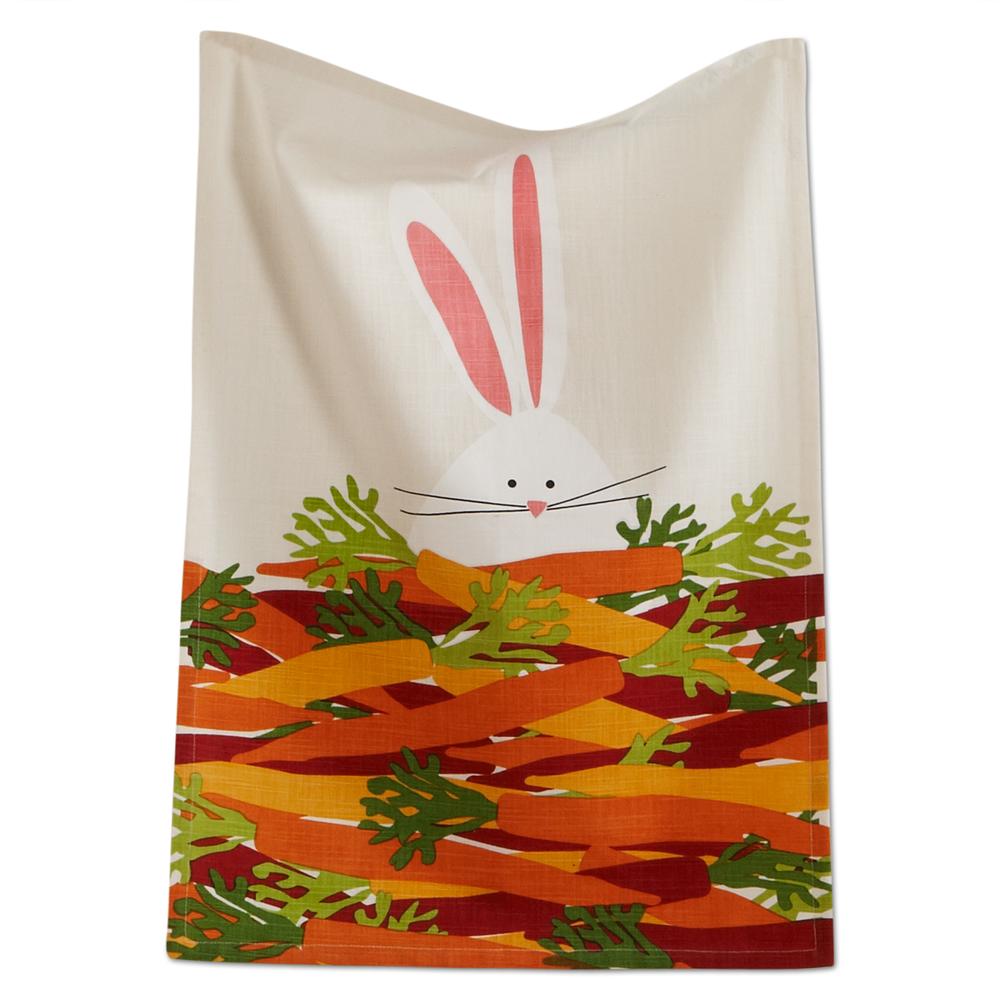 bunny and carrots slub weave dishtowel