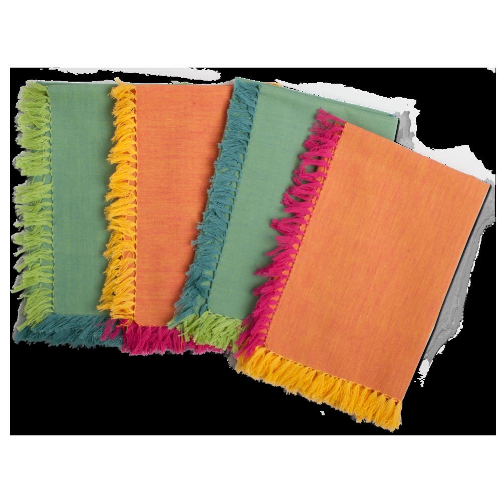 chambray fringed napkin set of 4