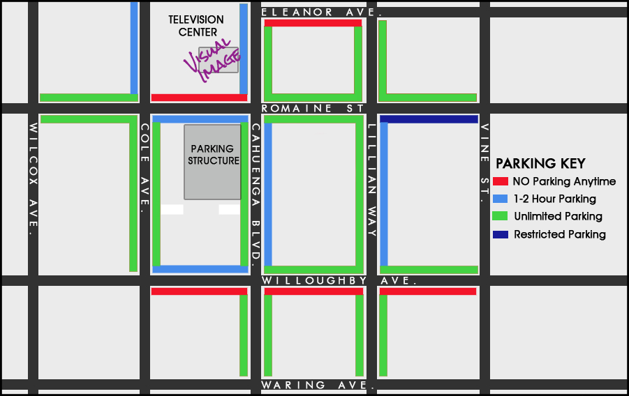 STREET PARKING - Current as of Summer 2015 but please check all signs    The new Parking Structure is available to park in by the hour or day - check the rates for details  PARKING is available for pick up and drop off of materials/tapes/film etc for 15 mins MAX underneath the Visual Image office. Alert Security guard at the gate for confirmation.  Thank You