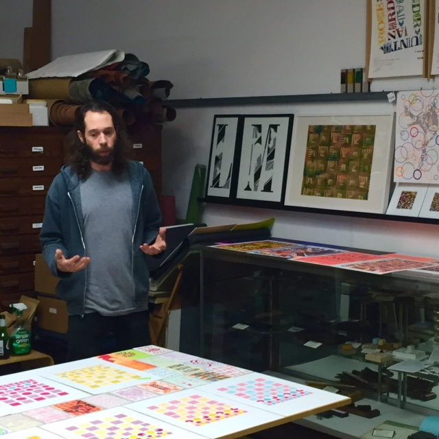 The Itinerant Printer with some of his work.