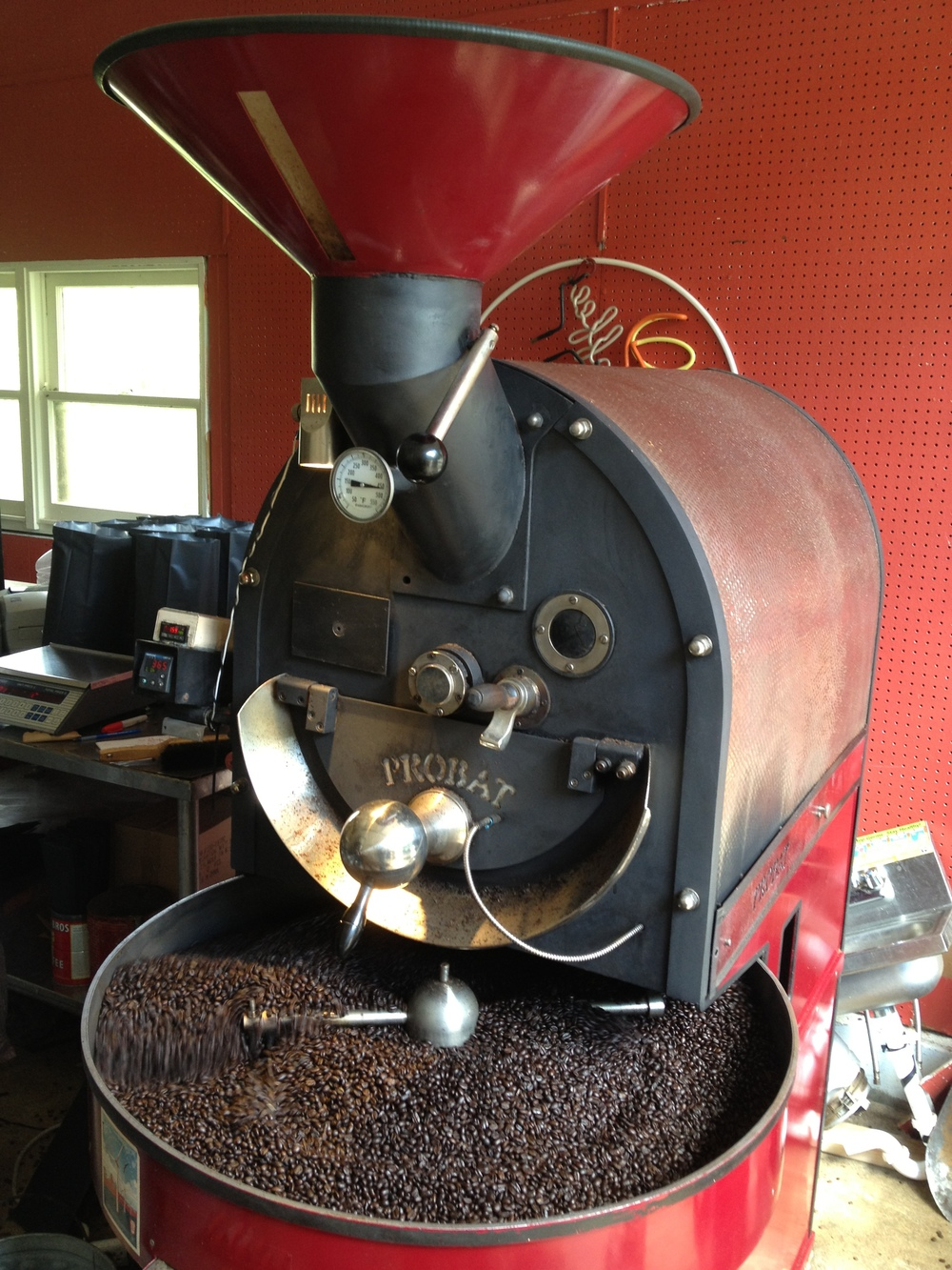 Our vintage Probat roaster.