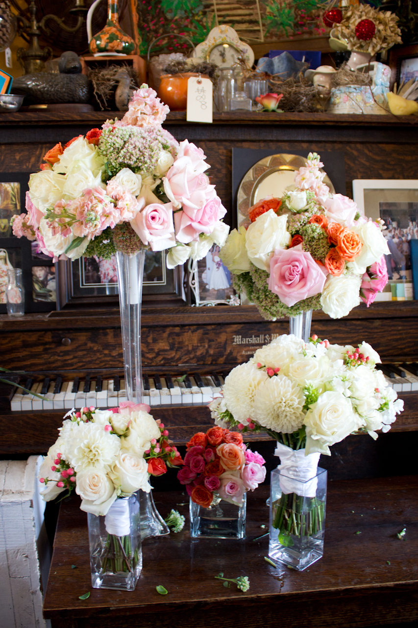 Bridal bouquet and centerpieces.