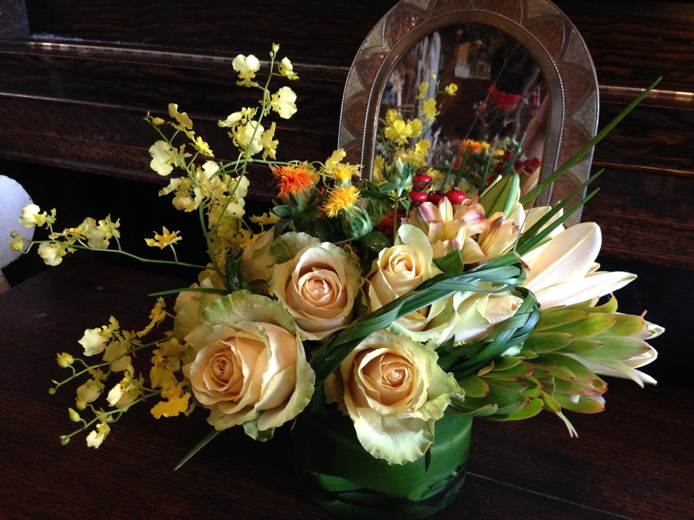Muted hues of yellow and gold hint of festive gatherings to come
