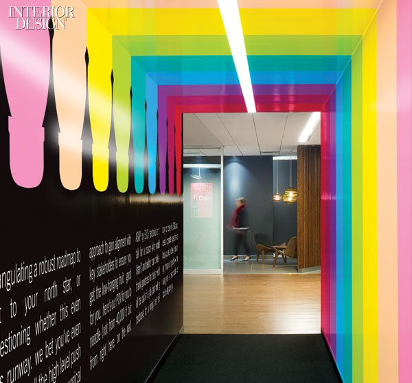 Vitaminwater bottles suggested the stripes for a hallway to a break-out area.
