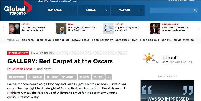 84TH ACADEMY OSCAR AWARDS- RED CARPET GALLERY  http://globalnews.ca/news/216129/gallery-red-carpet-at-the-oscars/