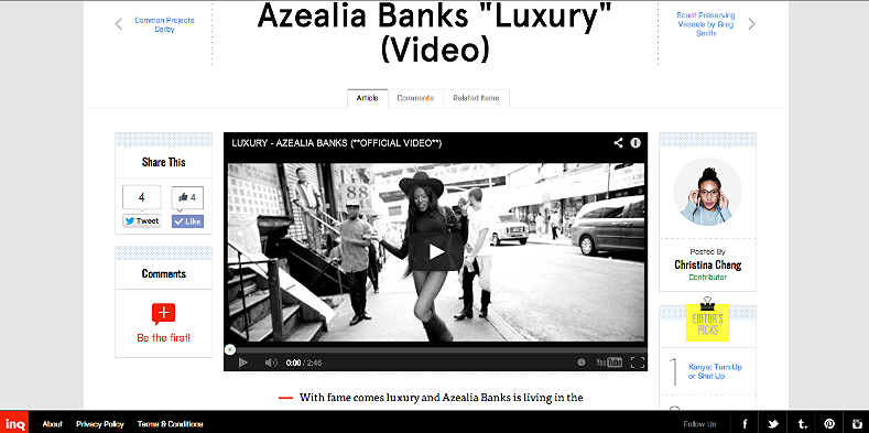 "Azealia Banks ""Luxury"" (Video) ttp://inqmind.co/2012/10/azealia-banks-luxury-video/"