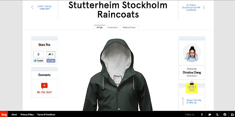 Stutterheim Stockholm Raincoats http://inqmind.co/2012/10/stutterheim-stockholm-raincoats/