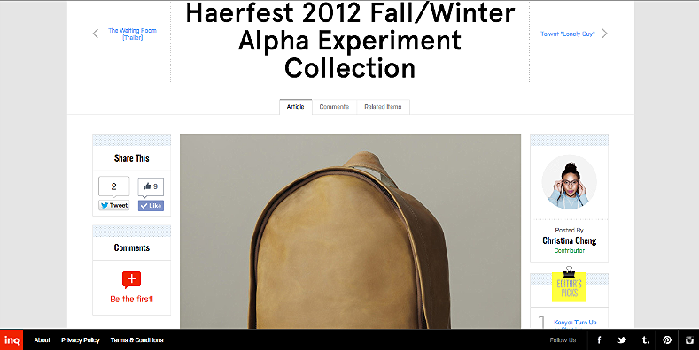 Haerfest 2012 Fall/Winter Alpha Experiment Collection http://inqmind.co/2012/10/haerfest-2012-fallwinter-alpha-experiment-collection/