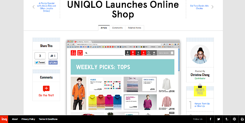 UNIQLO Launches Online Shop http://inqmind.co/2012/10/uniqlo-launches-online-shop/