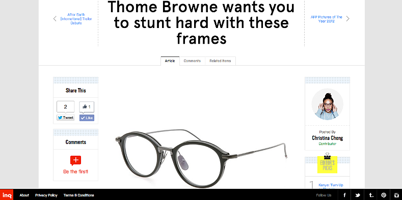Thom Browne wants you to stunt hard with these frames http://inqmind.co/2012/12/thome-browne-wants-you-to-stunt-hard-with-these-frames/