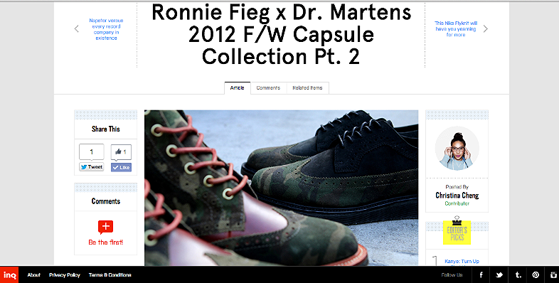 Ronnie Fieg x Dr. Martens 2012 F/W Capsule Collection PT.2 http://inqmind.co/2012/12/ronnie-fieg-x-dr-martens-2012-fw-capsule-collection-pt-2/