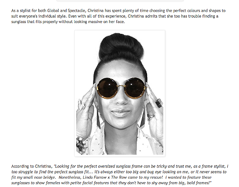Christina Cheng's favourite sunglasses: 2013 http://spectaclelovesyou.blogspot.ca/2013/01/christina-chengs-favourite-sunglasses.html?m=0