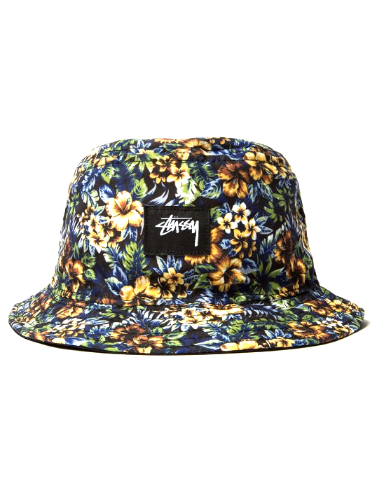 ISLAND REVERSIBLE BUCKET HAT Constructed from 100% cotton. Features an island flower print on one side and solid color on reverse. Includes signature Stussy detailing.