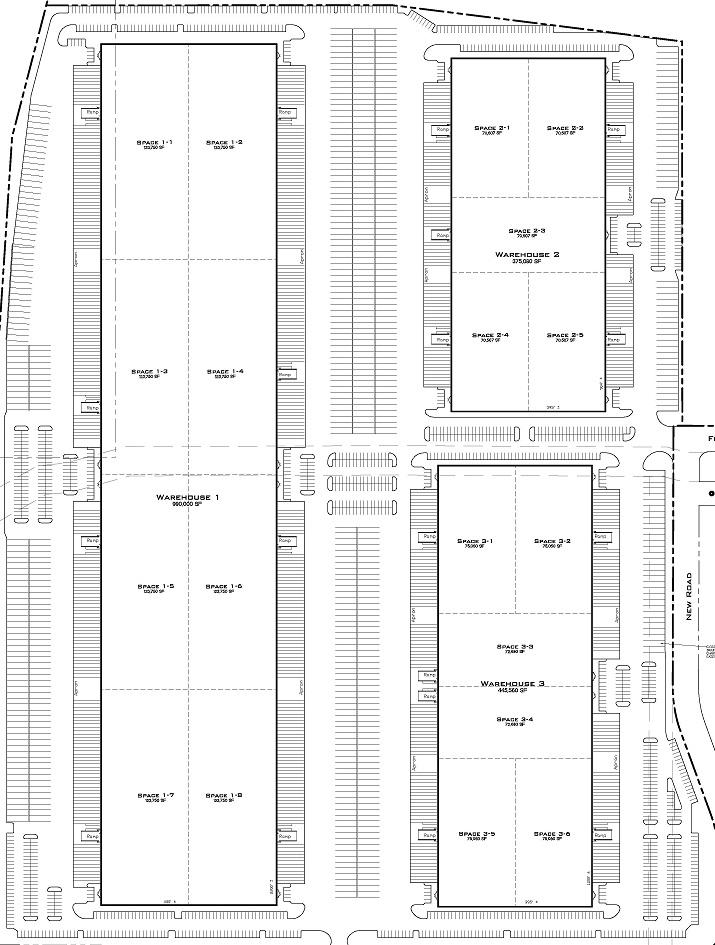 Plan: - Building 1: 990,000 SF Docks: 193          Grade Level Docks: 8Building 2: 357,080 SF Docks: 64           Grade Level Docks: 8Building 3: 445,560 SF  Docks: 82            Grade Level Docks: 6