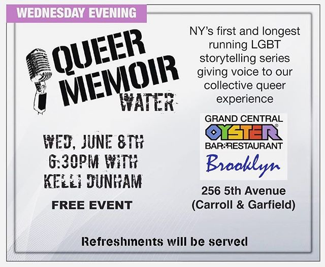 It's almost #brooklynpride week! Join us June 8th for our FREE and longest running reading series, the Queer Memoir, and have some cocktails too @brooklyn_pride 🌈📖 #readingseries #oysterbarbk #brooklynpride
