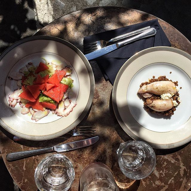 Lunch in Rome under the shade today / #watermelon #octopuscarpaccio / #riccota #squid #lentils