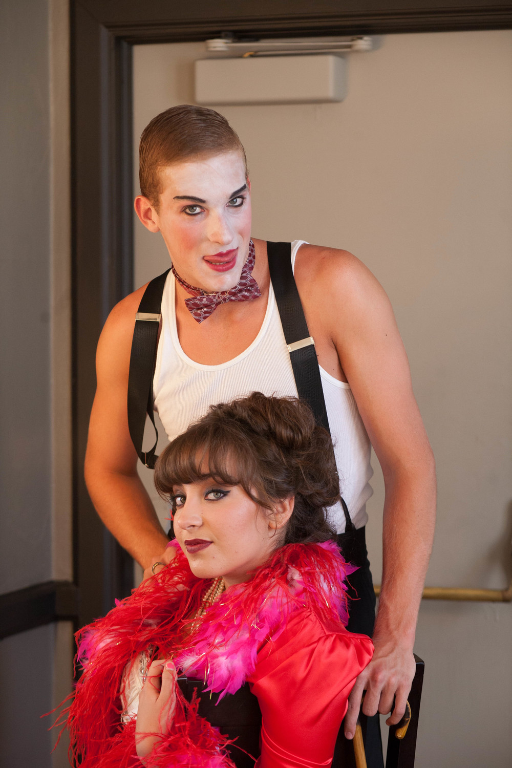 Clayton Barry (The Emcee) and Xeni Tziouvaras (Sally Bowles) in the Santa Barbara High School Summer Stock production of CABARET!  Photo by Stephanie Baker.