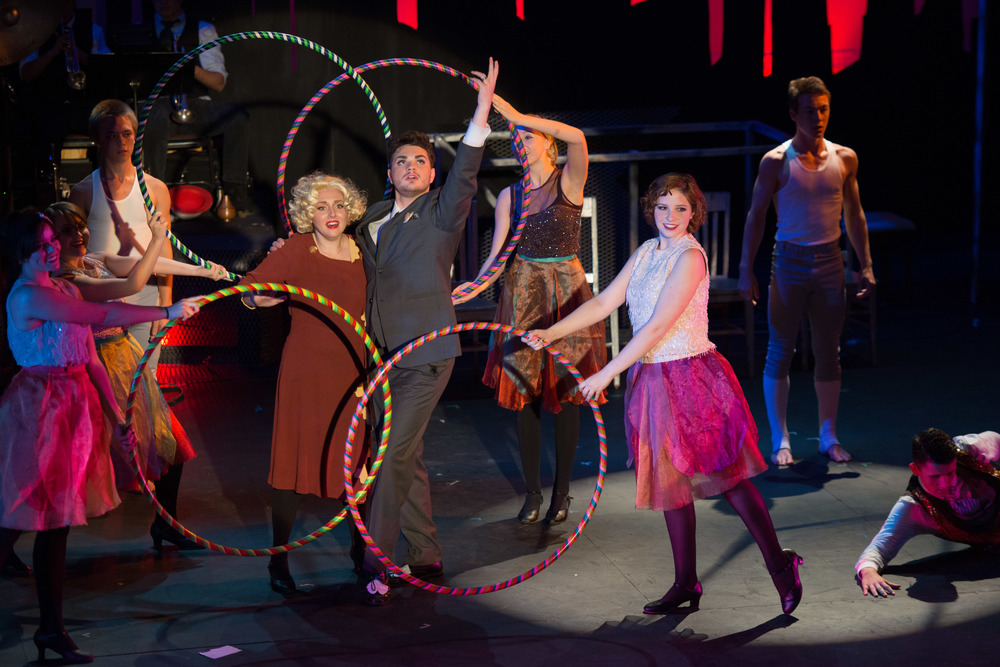 Sable Layman as Roxie Hart and Grant Bower as Billy Flynn, with Hailey Simmons, Libby Sestak, Shayne Casso-Cloonan, and Malcolm McCarthy in Chicago at Santa Barbara High School, Fall 2013. Photo Courtesy of Kristi Sestak