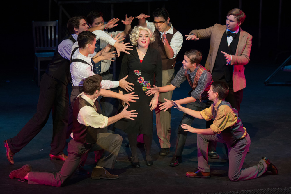 Sable Layman (Roxie Hart) with Malcolm McCarthy, Drew Janssen, Spencer Glesby, Dante Gonzalez, Andrew Gutierrez, Bradley DeVine, Nick Blondell and Nolan McCarthy in Chicago at Santa Barbara High School, Fall 2013. Photo courtesy of Kristi Sestak.