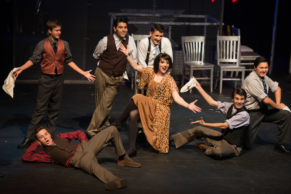 Malcolm McCarthy, Bradley DeVine, Andrew Gutierrez Drew Janssen, Spencer Glesby and Dante Gonzalez surround Camille Umoff as Velma Kelly in Chicago at Santa Barbara High School, Fall 2013. Photo Courtesy of Kristi Sestak