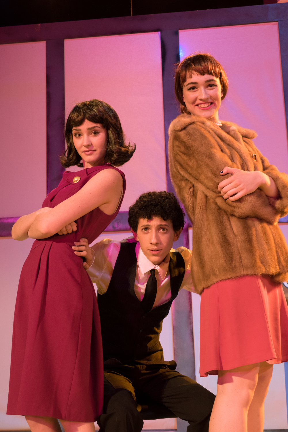 (L to R) In How to Succeed in Business Without Really Trying, Ciara Tolliver plays Rosemary Pilkington, Aaron Linker as J. Pierrepont Finch and Camille Umoff as Hedy LaRue. Photo Courtesy of Beau Lettieri.
