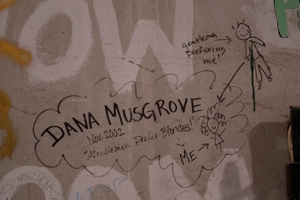 Dana Musgrove's Signature on the wall backstage of the Santa Barbara High School Theatre form November of 2002. Photo Courtesy of Beau Lettieri