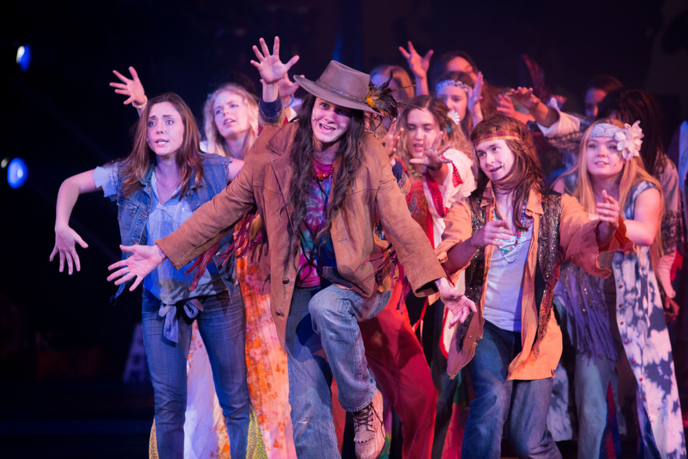 Hair the musical at Santa Barbara High School Theatre. Dircted by Otto Layman, Chrorgaphy by Jenna Tico, Musical Direction by Jon Nathan, Vocal Direction by Sio Tepper,  Costume Design by Bonnie Thor, Light Design by Mike Madden, Set Design by Otto Layman, Technical Direction by Jonathan Mitchell, Projection Design by Beau Lettieri