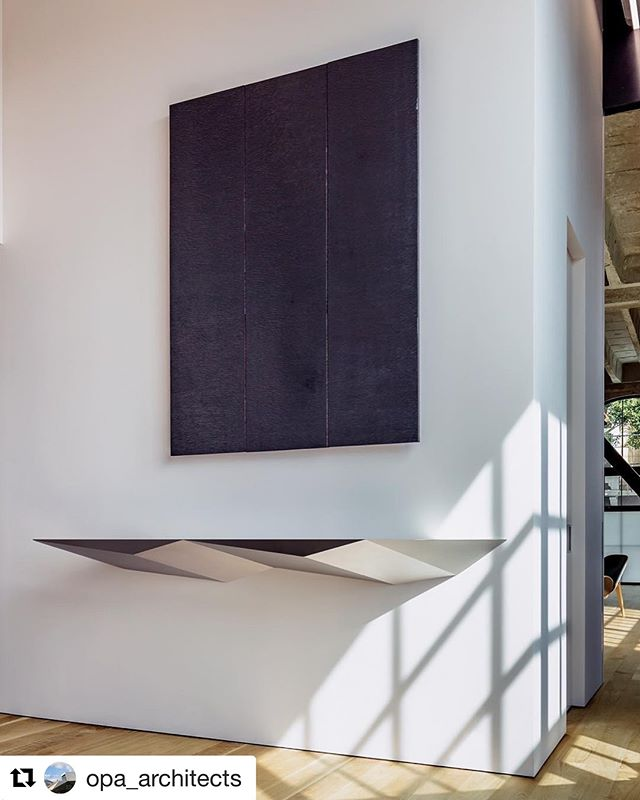 Loving this shot of a piece we worked on a couple years back- thanks @opa_architects ! #Repost @opa_architects with @get_repost ・・・ If you love Conway biprisms, as we do, you want to try them out everywhere, as in this aluminum console.  #conway #biprism #gyrobifastigium #aperiodictiling #tiling #geometry #aluminum  #faceted #console #metal #furniture #architecture #design #sanfrancisco @timgriffithphoto @shopfloorsf
