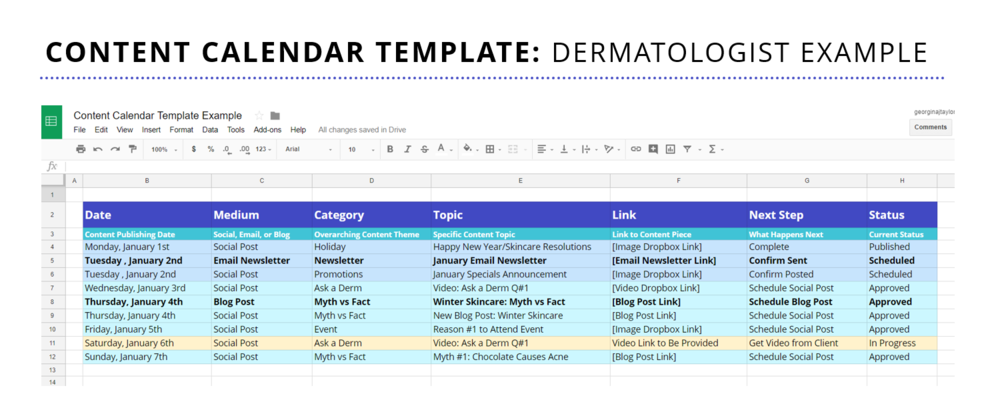 How To Plan Your Content Calendar Georgina Taylor - Content calendar template 2018