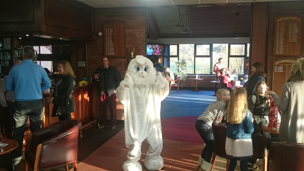 The Easter Bunny giving the Club's 3rd Easter Egg Hunt the thumbs up!