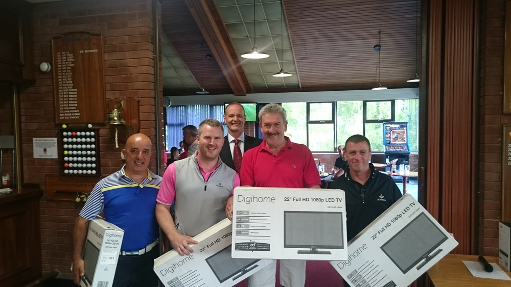 Left to Right: S Cocca, J Nolloth, G Hardiman, T Molloy. Background: M Scott Club Captain