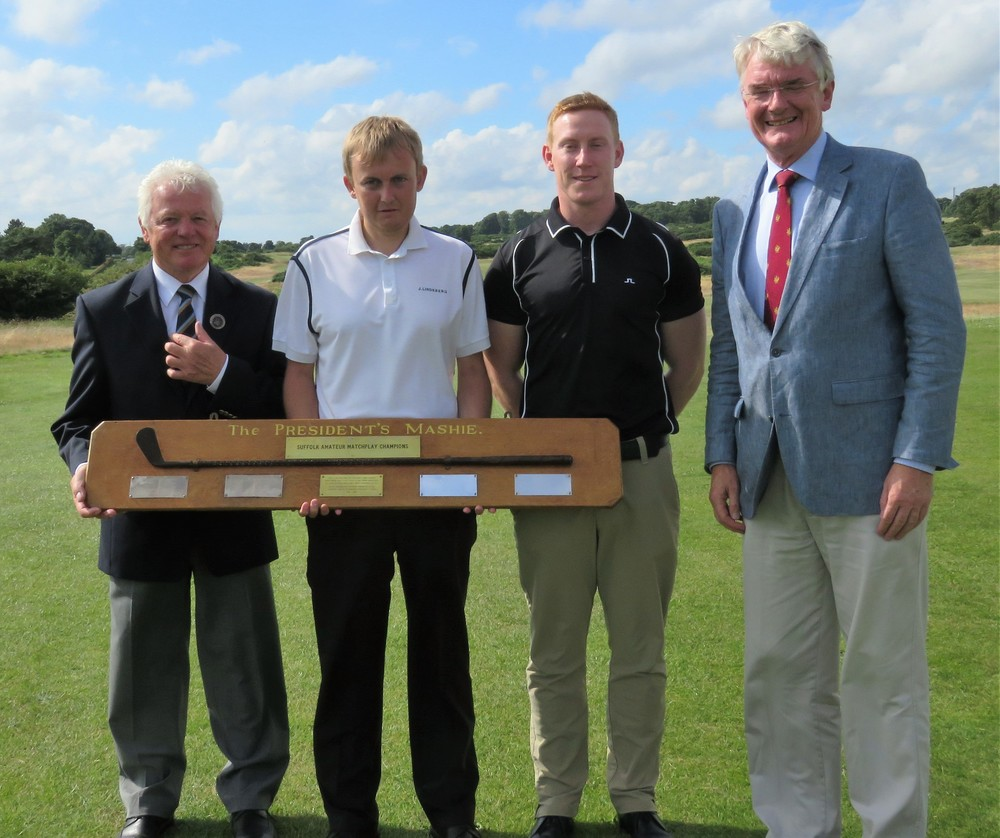 Pictured left to right, Phil Platten, President Suffolk Golf Union, Luke Thompson, Chris Duffy and Chris Clarke, Captain Aldeburgh Golf Club