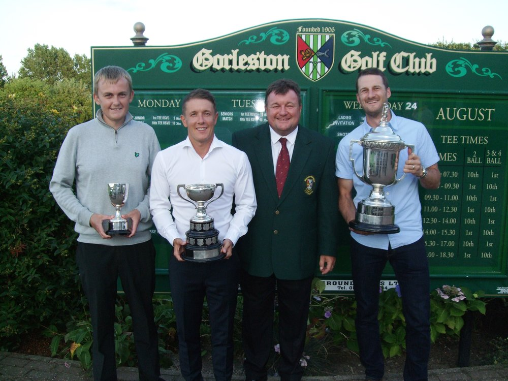 Pictured from left is Luke Thompson, Danny Western, Neil Youngs, Gorleston Club Captain, and Daniel Crosby
