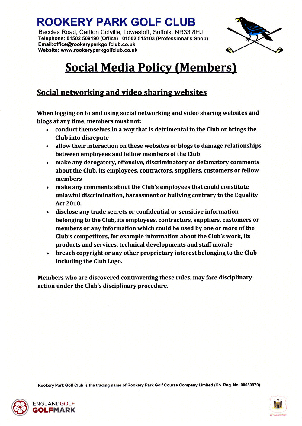 Rookery Park GC Social Media Policy Effective 1st February 2017