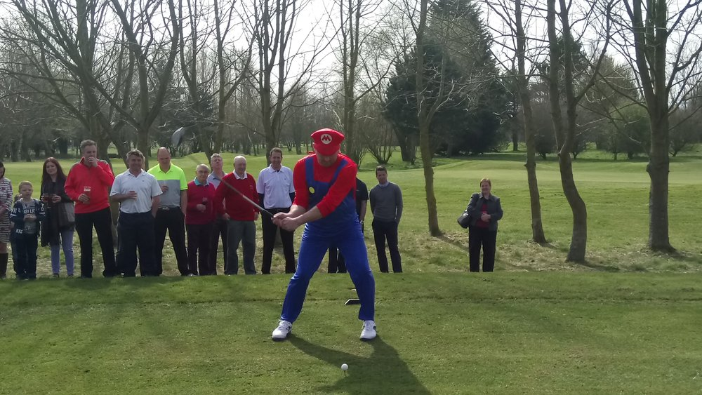 Stuart dressed as plumber Mario for his drive-in off the 15th tee