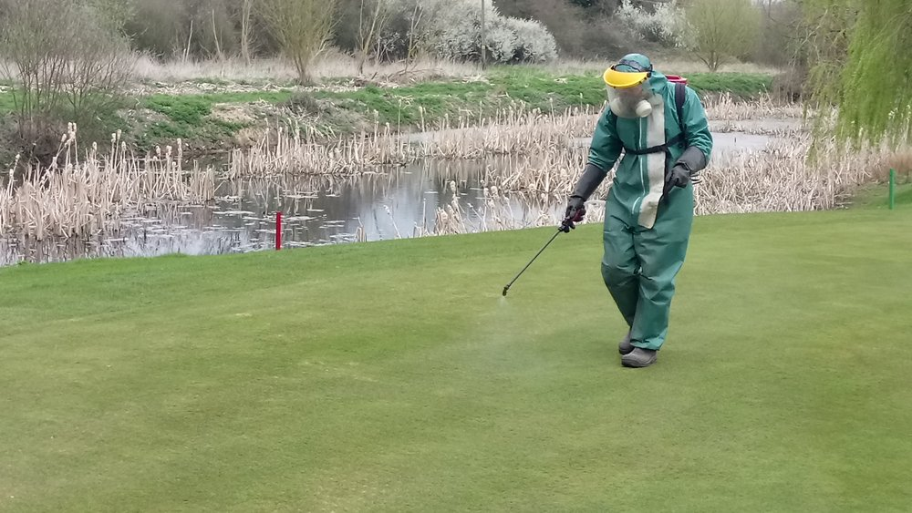 Head Green-Keeper Mark Henderson spraying Rescue on Friday 31st March