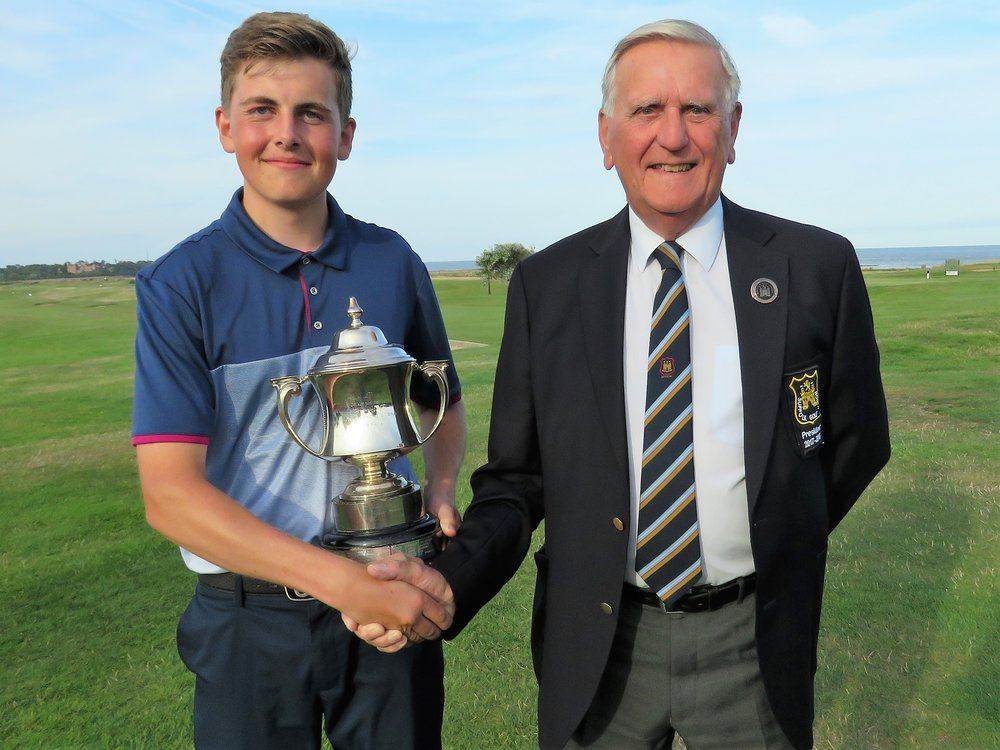 Conal Downing with Suffolk Golf Union President Colin Firman