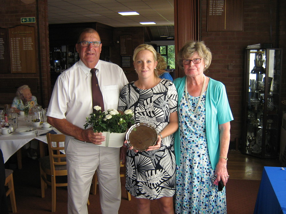Zoe Schofield with Lady Captain Rita Mayn and Club President Pat Barton
