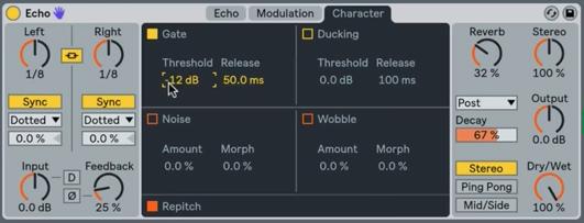 聲音迴聲強化設置,還包括Gate門限模組。