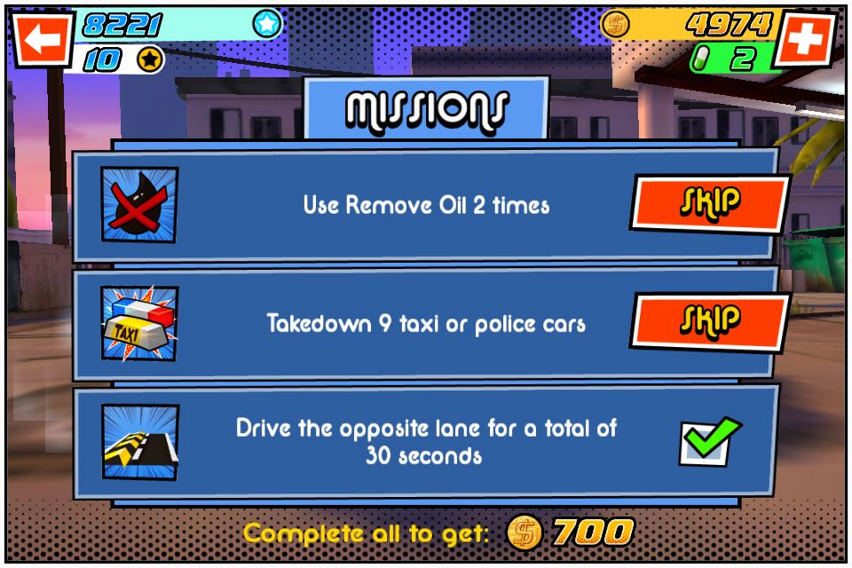 Missions were given to increase the variety of the game
