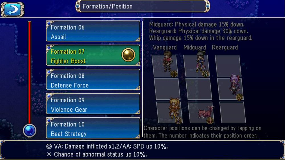 Formation will give you boost to your party's stat